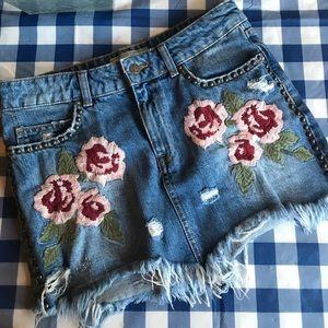 Free People Wild Rose Embroidered Denim Skirt